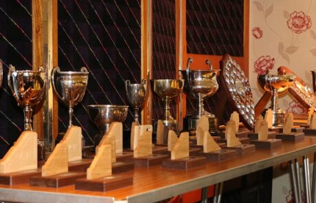 Trophy table 2016. Note the smaller wooden trophies for members to keep which were handmade by Tom Clark.