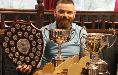 Tom Thornely with his collection of trophies for 2015.
