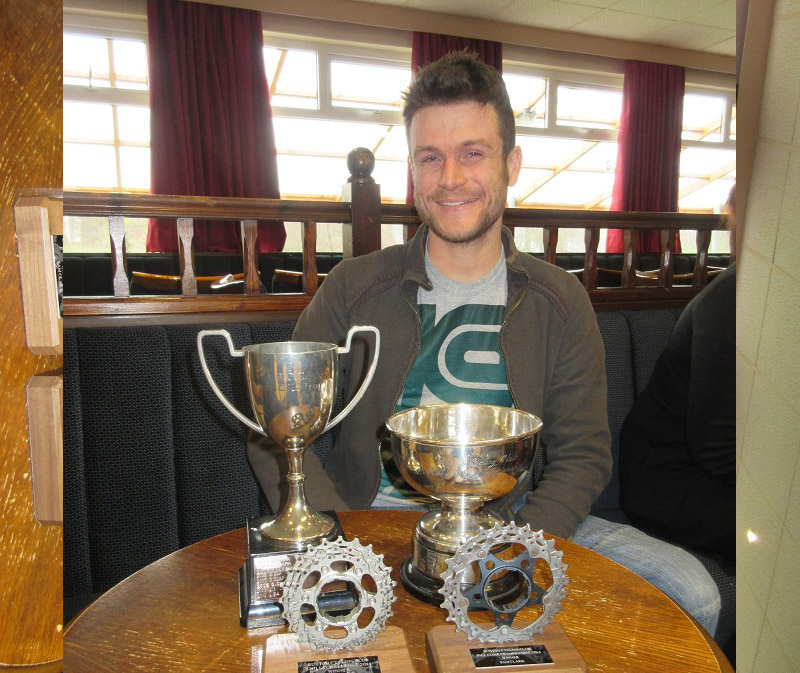 Sam Clark with his trophies